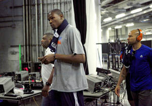 Photo - Oklahoma City's Kevin Durant arrives at the arena for practice before Game 5 of the NBA Finals between the Oklahoma City Thunder and the Miami Heat at American Airlines Arena, Wednesday, June 20, 2012. Photo by Bryan Terry, The Oklahoman