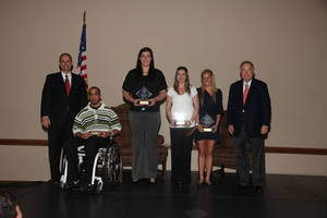 photo - Oklahoma athletic director Joe Castiglione, far left, and president David Boren, far right, stand with Athletic Council Achievement Award winners, from left, Corey Wilson, Jelena Cerina, Natasha Kelley and Peta Maree Lancaster at the Max Weitzenhoffer Scholar Athlete Breakfast on Tuesday in Norman.  PHOTO PROVIDED