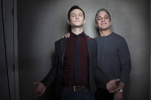 "Photo - Joseph Gordon-Levitt, left, and Tony Danza from the film ""Don Jon's Addiction,"" pose for a portrait during the 2013 Sundance Film Festival at the Fender Music Lodge, on Saturday, Jan. 19, 2013 in Park City, Utah. (Photo by Victoria Will/Invision/AP Images)"