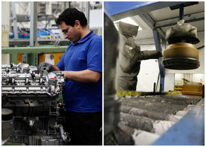 Photo - This combination of Associated Press file photos shows a worker, left, assembling a motor in a Mercedes Benz factory in 2008 in Berlin, and a robot, right, painting a brake drum at Webb Wheel Products, in 2013, in Cullman, Ala.. Thanks to robots, Webb Wheel hasn't added a factory worker in over three years, though it's making 300,000 more drums annually, a 25 percent increase. (AP Photo)