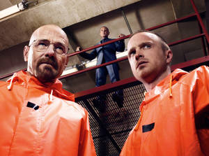 "Photo - TV SHOW / TELEVISION SERIES: Bryan Cranston, Giancarlo Esposito and Aaron Paul star in ""Breaking Bad."" Photo Credit:  Ben Leuner/AMC ORG XMIT: 1107141603595804"