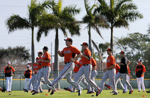Photo - Baltimore Orioles pitchers and catchers warm up during a workout at the team's baseball spring training facility in Sarasota, Fla., Saturday, Feb. 15, 2014. The Orioles first full squad workout is set for Tuesday, Feb. 18. (AP Photo/Gene J. Puskar)
