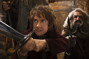 "Photo - This image released by Warner Bros. Pictures shows Martin Freeman, left, and John Callen in a scene from ""The Hobbit: The Desolation of Smaug."" (AP Photo/Warner Bros. Pictures, Mark Pokorny)"
