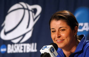 Photo - Duke NCAA college basketball women's head coach Joanne P. McCallie speaks to the media during a press conference, Monday, April 1, 2013 at the Ted Constant Center in Norfolk, Va. Duke will play Notre Dame on Tuesday in the regional final.    (AP Photo/Jason Hirschfeld)