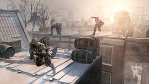 "Photo -   This video game image released by Ubisoft shows an assassin fleeing across the rooftops of colonial New York in a scene from ""Assassin's Creed III."" (AP Photo/Ubisoft)"