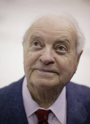 Photo -   02/11/04 A Fed. 11, 2004 photo shows Red Wings public address annoucer Budd Lynch. The Detroit Red Wings said Tuesday Oct. 9, 2012, the team's longtime public address announcer Budd Lynch has died. He was 95. (AP Photo/Detroit Free Press,Romain Blanquart ) DETROIT NEWS OUT; NO SALES: MANDATORY CREDIT (info from photo request) Caption: Budd Lynch, 86, photographed after the Red Wings game against San Jose at Joe Louis Arena on Wednesday February 11, 2004 in Detroit, MI.