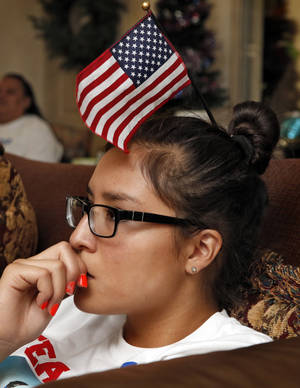 Photo -  Amy Cozad watches cousin Chris Wondolowski play against Germany for the American team in World Cup Soccer on Thursday in Lawton. Photo by Steve Sisney, The Oklahoman  <strong>STEVE SISNEY -  THE OKLAHOMAN </strong>