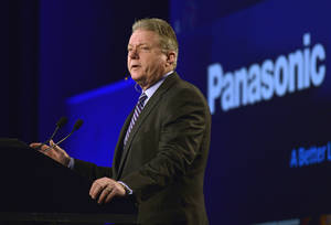 Photo - Joseph M. Taylor, chairman and CEO of Panasonic North America, talks to the media during the Panasonic news conference at the 2014 International Consumer Electronics Show Monday, Jan. 6, 2014, in Las Vegas. (AP Photo/Jack Dempsey)