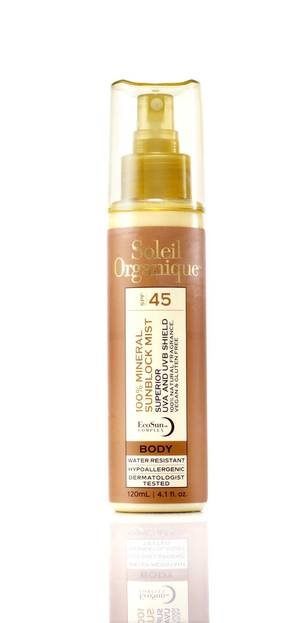 Photo - New sun protection products do more than just block the harmful rays, they add in moisturizers and anti-aging compounds and even makeup. This is Soleil Organique 100 percent mineral sunblock mist SPF 45. (Los Angeles Times/MCT)