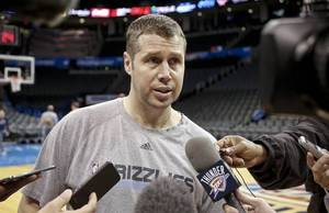 Photo - Memphis Grizzlies coach David Joerger talks to the media during the team practice at Chesapeake Energy Arena in Oklahoma City, Okla. on Monday, April 21, 2014. Photo by Chris Landsberger, The Oklahoman