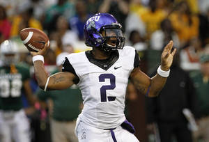 Photo -   TCU quarterback Trevone Boykin (2) passes in the first half of an NCAA college football game against Baylor Saturday, Oct. 13, 2012, in Waco, Texas. (AP Photo/Tony Gutierrez)