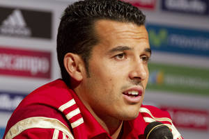 Photo - Spain World Cup soccer team member Pedro Rodriguez speaks to the media before their Saturday friendly match against El Salvador in Washington, Thursday, June 5, 2014. (AP Photo/Jacquelyn Martin)
