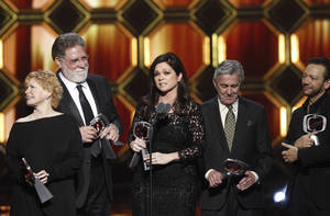 "Photo - ""One Day at a Time"" cast members, from left, Bonnie Franklin, Richard Masur, Valerie Bertinelli and Pat Harrington Jr. get the Innovator Award at the TV Land Awards recently in New York. TV Land will air the awards show at 8 p.m. Sunday. AP Photo"