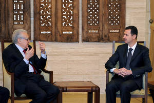 "Photo - In this photo released by the Syrian official news agency SANA, Syrian President Bashar al-Assad, right, meets with UN Arab League deputy to Syria, Lakhdar Brahimi in Damascus, Syria, Monday, Dec. 24, 2012. The international envoy tasked with pushing to end Syria's civil war said the situation is still ""worrying"" after discussing the crisis with President Bashar Assad on Monday. The remarks gave no indication of progress toward a negotiated solution to the conflict. (AP Photo/SANA)"