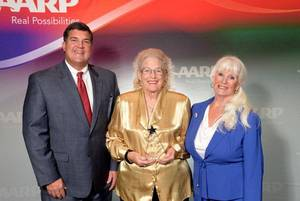 Photo - From left are AARP Oklahoma State Director Sean Voskuhl, 2013 Andrus Award Winner Phyllis Crosswell and AARP Oklahoma State President Marjorie Lyons. PHOTO PROVIDED      <strong></strong>