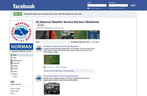 Photo - A Facebook screen image shows how National Weather Service forecast offices use social media.