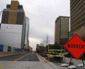 photo - Robert S. Kerr Avenue recently was reopened after being closed more than a year due to construction of a new SandRidge Energy Amenities building to the south, and a new plaza and building renovations to the north. Photo by Steve Lackmeyer, The Oklahoman
