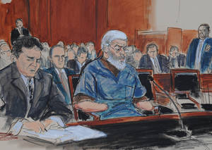 Photo -   In this courtroom drawing, defense attorney, Jeremy Schneider, left, represents accused terrorist Abu Hamza al-Masri, center, in Manhattan federal court, Tuesday, Oct. 9, 2012, in New York. (AP Photo/ Elizabeth Williams)