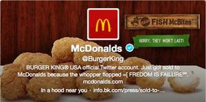 photo - This frame grab taken Monday, Feb. 18, 2013, shows what appears to be Burger King's Twitter account after it was apparently hacked. Starting just after noon Eastern time on Monday, the fast-foot company's Twitter picture was changed to a McDonald's logo, and the account tweeted that it had been sold to rival McDonald's. (AP Photo)