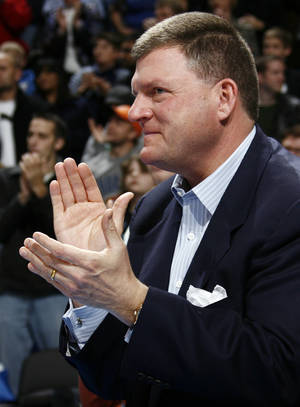 Photo - Thunder chairman Clay Bennett said Monday that the current economic situation could trickle into next season. Photo by nate billings, the oklahoman