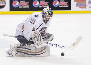 Photo - Barons goaltender Olivier Roy earned his first start and had 36 saves on 38 shots Tuesday night against Rockford. Photo by Steven Christy, For The Oklahoman.   <strong>Steven Christy</strong>