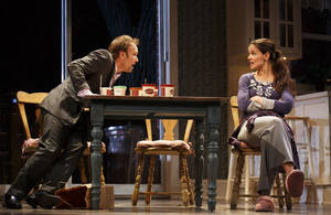 "Photo - This undated publicity photo provided by Boneau/Bryan-Brown shows Nobert Leo Butz as Jack, left, and Katie Holmes as Lorna, in a scene from ""Dead Accounts,"" by Theresa Rebeck, at Broadway's Music Box theatre in New York. (AP Photo/Boneau/Bryan-Brown, Joan Marcus)"