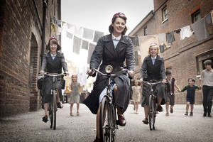 "Photo -   This image provided by Neal Street Productions shows, from left, Bryony Hannah, Jessica Raine and Helen George in ""Call The Midwife,"" a British drama about midwifery in the 1950s that opens PBS' fall schedule on Sept. 30. (AP Photo/Neal Street Productions, Laurence Cendrowicz) MANDATORY CREDIT"