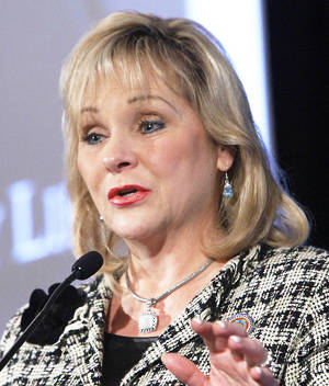 Photo - Governor Mary Fallin speaks at Sallted at the Skirvin, Friday, September 28, 2012. The SALLTed was sponsored by Hobby Lobby and Kimray  to bring together OKC Christian leaders in business, government, education, clergy, arts, media and nonprofit. Photo By David McDaniel/The Oklahoman