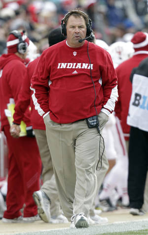 Photo -   Indiana head coach Kevin Wilson paces the sideline against Purdue during the first half of an NCAA college football game in West Lafayette, Ind., Saturday, Nov. 24, 2012. (AP Photo/Michael Conroy)