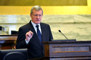 Photo - U.S. Sen. Max Baucus addresses the Montana Legislature Thursday, Jan. 10, 213 in the House Chambers. (AP Photo/The Independent Record, Dylan Brown)