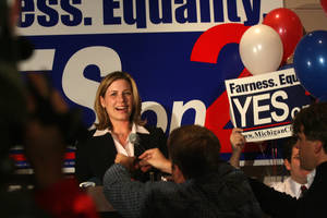 photo -   FILE -- In a Nov. 7, 2006 file photo Jennifer Gratz, the executive director of the Michigan Civil Rights Initiative, is seen during a Proposal 2 watch party in East Lansing, Mich., when Michigan&#039;s ban on affirmative action passesd. Michigan&#039;s ban on affirmative action in college admissions was declared unconstitutional Thursday Nov. 15, 2012, by a deeply divided federal appeals court. (AP Photo/Free Press, Kathleen Galligan/file) NO SALES MANDATORY CREDIT  