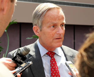"photo -   FILE - This Aug. 10, 2012 file photo shows Todd Akin, Republican candidate for U.S. Senator from Missouri taking questions after speaking at the Missouri Farm Bureau candidate interview and endorsement meeting in Jefferson City, Mo. Akin fought to salvage his Senate campaign Monday, Aug. 20, 2012, even as members of his own party turned against him and a key source of campaign funding was cut off in outrage over the Missouri congressman's comments that women are able to prevent pregnancies in cases of ""legitimate rape."" (AP Photo/St. Louis Pos-Dispatch, Christian Gooden)"
