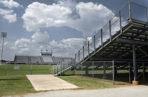 Photo - EXTERIOR: Newcastle high school's football stadium in Newcastle, Okla. on Tuesday, September 8, 2009. By Steve Sisney, The Oklahoman ORG XMIT: KOD