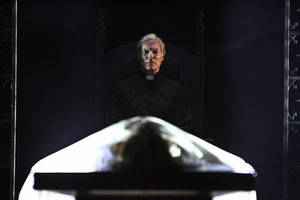 "Photo -   This undated theater image released by the Geffen Playhouse shows Richard Chamberlain in the world premiere of John Pielmeier's ""The Exorcist"" at the Geffen Playhouse in Los Angeles. The play, an adaptation of the 1971 William Peter Blatty novel, runs through Aug. 12. (AP Photo/Geffen Playhouse, Michael Lamont)"