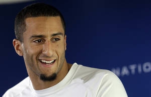 Photo - San Francisco 49ers quarterback Colin Kaepernick speaks at an NFL football media availability in Santa Clara, Calif., Wednesday, Jan. 16, 2013. The 49ers are scheduled to face the Atlanta Falcons in the NFC championship game on Sunday. (AP Photo/Jeff Chiu)