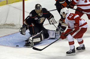 Photo - Anaheim Ducks goalie Jonas Hiller (1), of Switzerland, defends against Detroit Red Wings center Luke Glendening (41) in the first period of an NHL hockey game in Anaheim, Calif., Sunday, Jan. 12, 2014. (AP Photo/Reed Saxon)