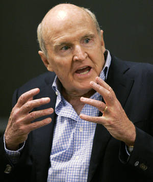 Photo -   FILE - In this Sept. 27, 2006 file photo, former General Electric CEO Jack Welch addresses students at the Massachusetts Institute of Technology, in Cambridge, Mass. Conspiracy theorists came out in force Friday, Oct. 5, 2012, after the government reported a sudden drop in the U.S. unemployment rate one month before Election Day. Welch tweeted his skepticism five minutes after the Labor Department announced that the unemployment rate had fallen to 7.8 percent in September from 8.1 percent the month before. (AP Photo/Elise Amendola, File)