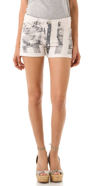 Photo - A few chic ways to accessorize this Fourth of July include these Haute Hippie American flag-print stretch-denim shorts $195. (Courtesy Shopbop.com via Los Angeles/MCT)
