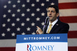 photo -   Republican vice presidential candidate, Rep. Paul Ryan, R-Wis. speaks during a campaign event, Monday, Oct. 8, 2012, in Swanton, Ohio. (AP Photo/Mary Altaffer)