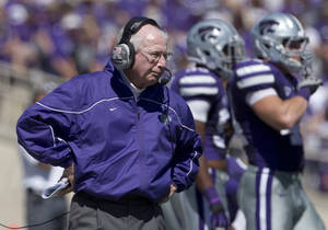 photo - Kansas State coach Bill Snyder watches from the sideline during the second half of an NCAA football game against Miami in Manhattan, Kan., Saturday, Sept. 8, 2012. Kansas State defeated Miami 52-13. (AP Photo/Orlin Wagner)