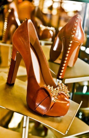 Photo - Studs edge the heel and bow on Vince Camuto platform pumps, available at Dillard's, Penn Square. Photo by Chris Landsberger, The Oklahoman.  <strong>CHRIS LANDSBERGER</strong>