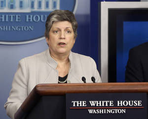 photo - FILE - In this Feb. 25, 2103 file photo, Homeland Security Secretary Janet Napolitano briefs reporters  at the White House in Washington. The Homeland Security Department released more than 2,000 illegal immigrants facing deportation from immigration jails in recent weeks due to looming budget cuts and planned to release 3,000 more during March, The Associated Press has learned. (AP Photo/Charles Dharapak, File)