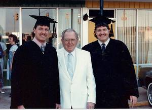 Photo - Buddy Ryan, center, attends the graduation of his sons Rob and Rex Ryan from Southwestern Oklahoma State University in 1986. Photo provided <strong></strong>
