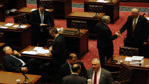 Photo - A photo shows the floor of the Oklahoma Senate. Phobo by Warren Vieth. <strong></strong>