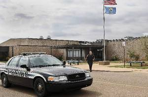 Photo - Stillwater police in front of Stillwater Junior High School, where student Cade Poulos, 13, died this morning, Wednesday, Sep. 26, 2012, from a self-inflicted gunshot wound to the head. Photo by Jim Beckel, The Oklahoman.