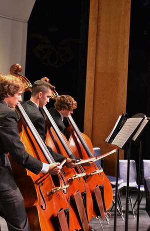 Photo - Bass players in the Edmond North High School  orchestra include, from left, Chase Haddican, Chris Lunday and Beaux Jones.  PHOTOs PROVIDED BY EDMOND NORTH ORCHESTRA BOOSTERS