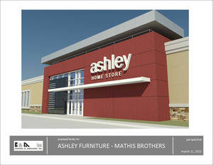 Photo - This drawing shows the Ashley Furniture HomeStore. Mathis Brothers signed up to operate at least five locations. Drawing Provided <strong></strong>