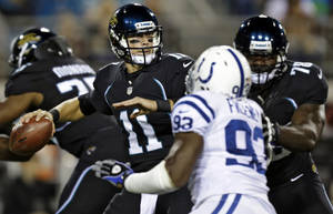Photo -   Jacksonville Jaguars quarterback Blaine Gabbert (11) throws a pass as tackle Cameron Bradfield (78) blocks Indianapolis Colts outside linebacker Dwight Freeney (93) during the first quarter of an NFL football game, Thursday, Nov. 8, 2012, in Jacksonville, Fla. (AP Photo/Chris O'Meara)