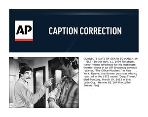 "photo - CORRECTS DATE OF DEATH TO MARCH 19 - FILE - In this Nov. 11, 1979 file photo, Harry Reems rehearses for his legitimate theater debut in an Off-Broadway comedy-drama, ""The Office Murders,"" in New York. Reems, the former porn star who co-starred in the 1972 movie ""Deep Throat,"" died Tuesday, March 19, 2013 in Slat Lake City.  He was 65. (AP Photo/Ron Frehm, File)"