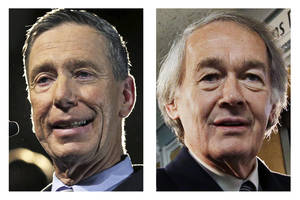 Photo - This panel of 2013 file photos show Democrat candidates for U.S. Senate, Reps. Stephen Lynch, left, and Edward Markey, right, vying for their party's nomination in the special April 30, 2013 primary. (AP Photos)